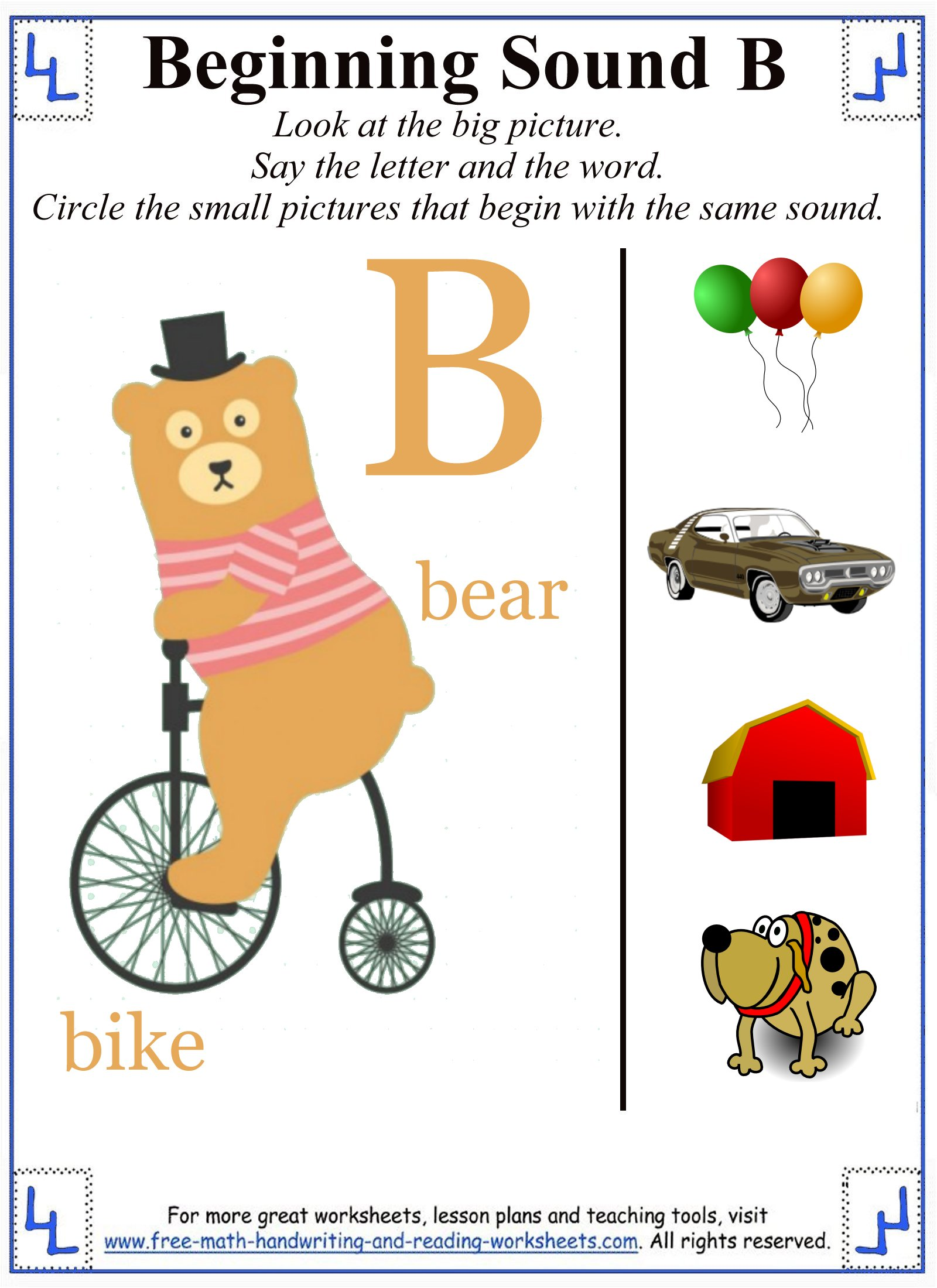 letter b worksheets 1