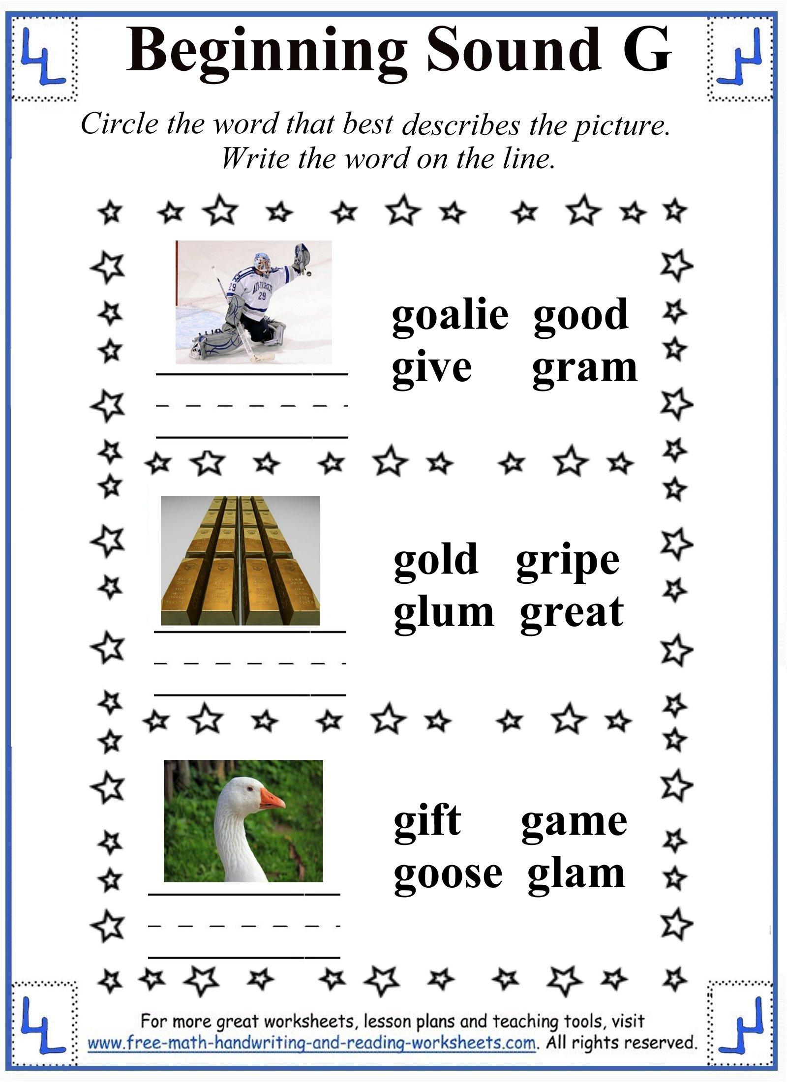 letter g worksheet 3
