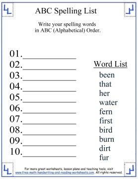 Cursive writing worksheets spelling words