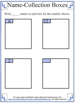 1st Grade Math Worksheets:Name Collection Boxes