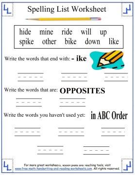 1st grade spelling words 4