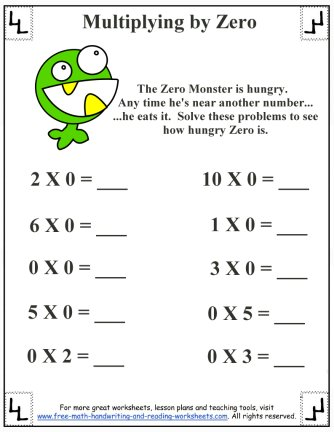 multiplying by zero worksheet 2