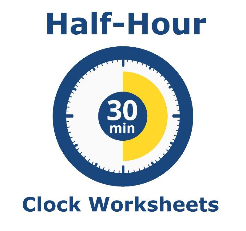 clock worksheets learning half hours. Black Bedroom Furniture Sets. Home Design Ideas