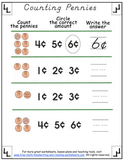counting pennies worksheets. Black Bedroom Furniture Sets. Home Design Ideas