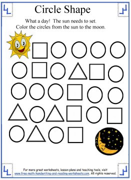 circle shape preschool worksheets. Black Bedroom Furniture Sets. Home Design Ideas