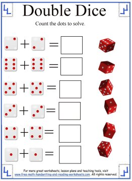 math addition worksheets adding dice. Black Bedroom Furniture Sets. Home Design Ideas