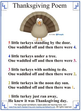 5 Little Turkeys Poem