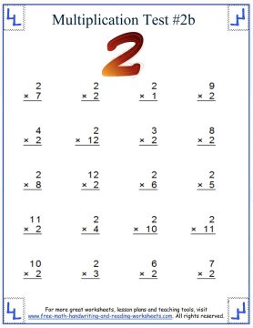 Multiplication Test - Multiples Up To Twelve