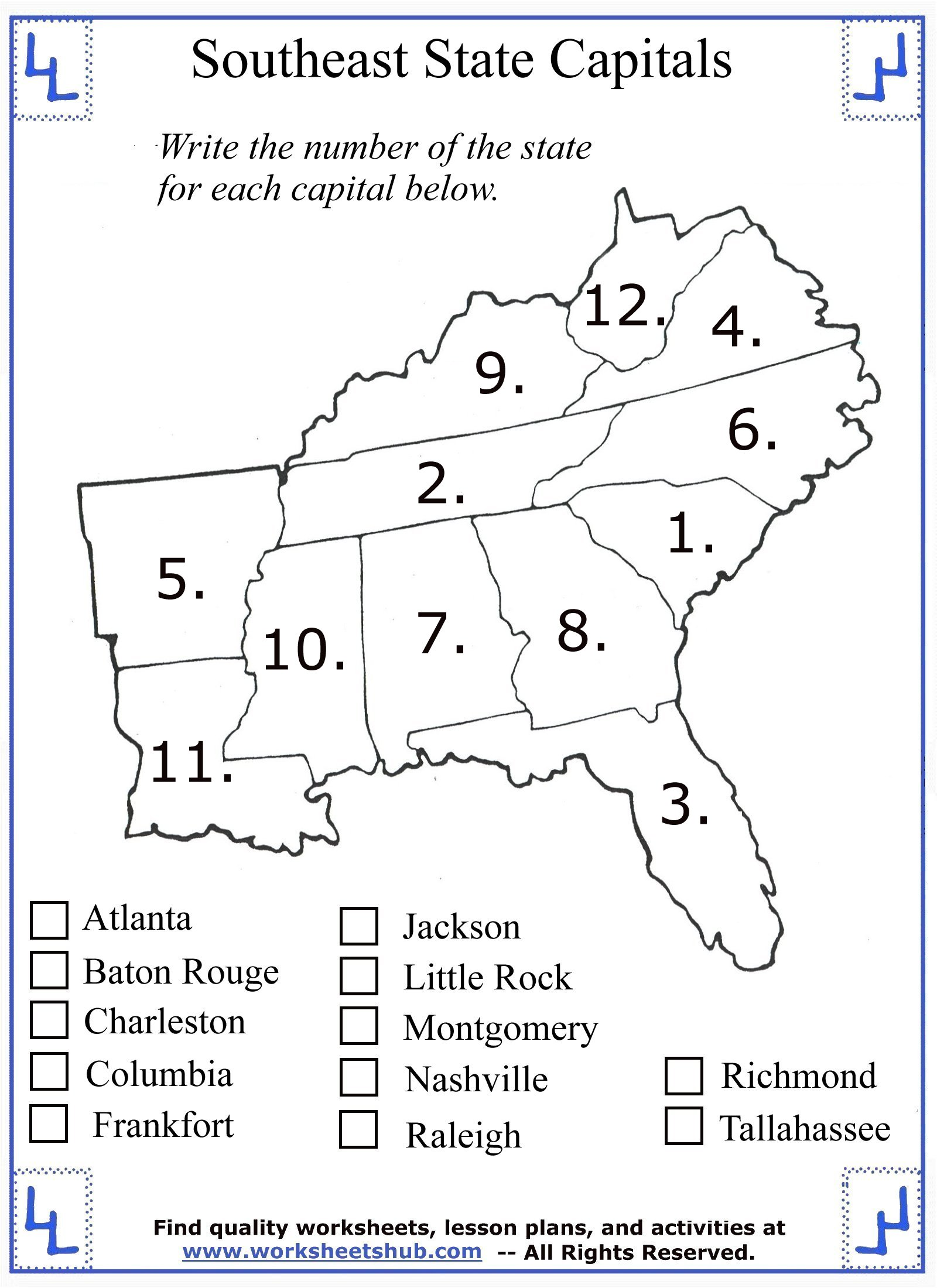 4th Grade Social Studies - Southeast Region States