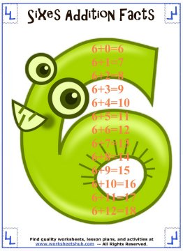 addition facts 6
