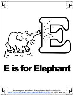 alphabet coloring e