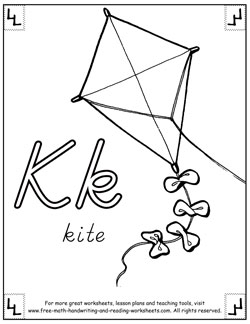 alphabet coloring pages k