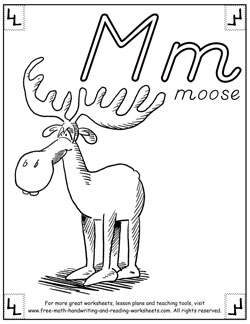 alphabet coloring pages m