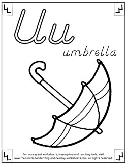 alphabet coloring pages u