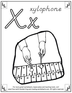 alphabet coloring pages x