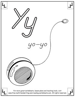 alphabet coloring pages y