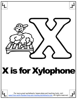alphabet coloring x