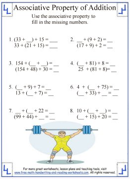 math worksheet : associative property of addition  definition  worksheets : Commutative And Associative Properties Of Addition Worksheets