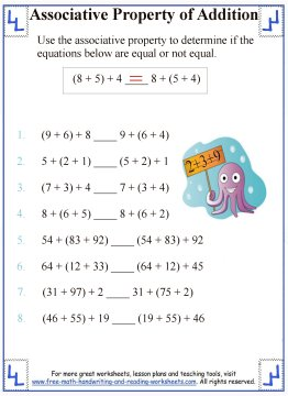 Printables Math Properties Worksheet associative property of addition definition worksheets 1