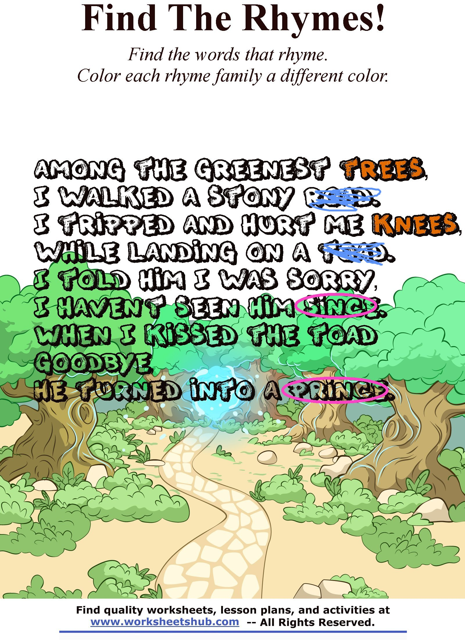 Children Rhymes: Find \'N Color the Rhyming Words!