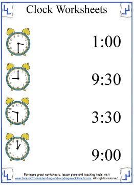 clock worksheets 4