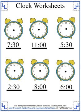 clock worksheets 6