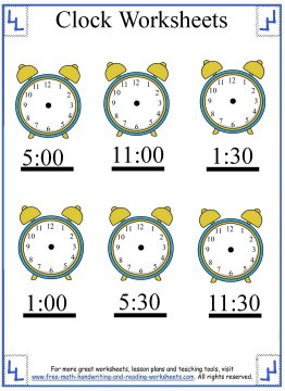 clock worksheets 7
