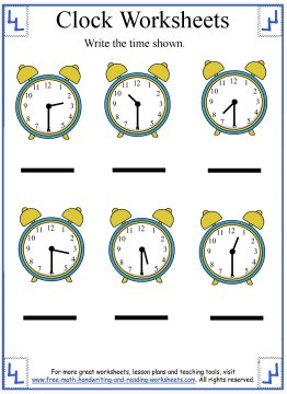 clock worksheets 1