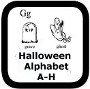 a-h halloween alphabet coloring pages