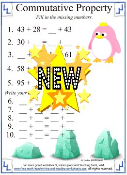 math worksheet : commutative property of addition  definition  worksheets : Commutative Property Of Addition Worksheets For First Grade