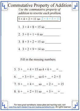 math worksheet : commutative property of addition  definition  worksheets : Properties Of Addition And Multiplication Worksheets