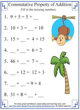 commutative property of addition  definition  worksheets commutative property of addition worksheets