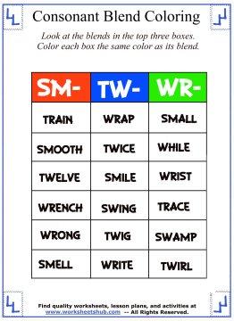 Consonant Blend Worksheets Identify