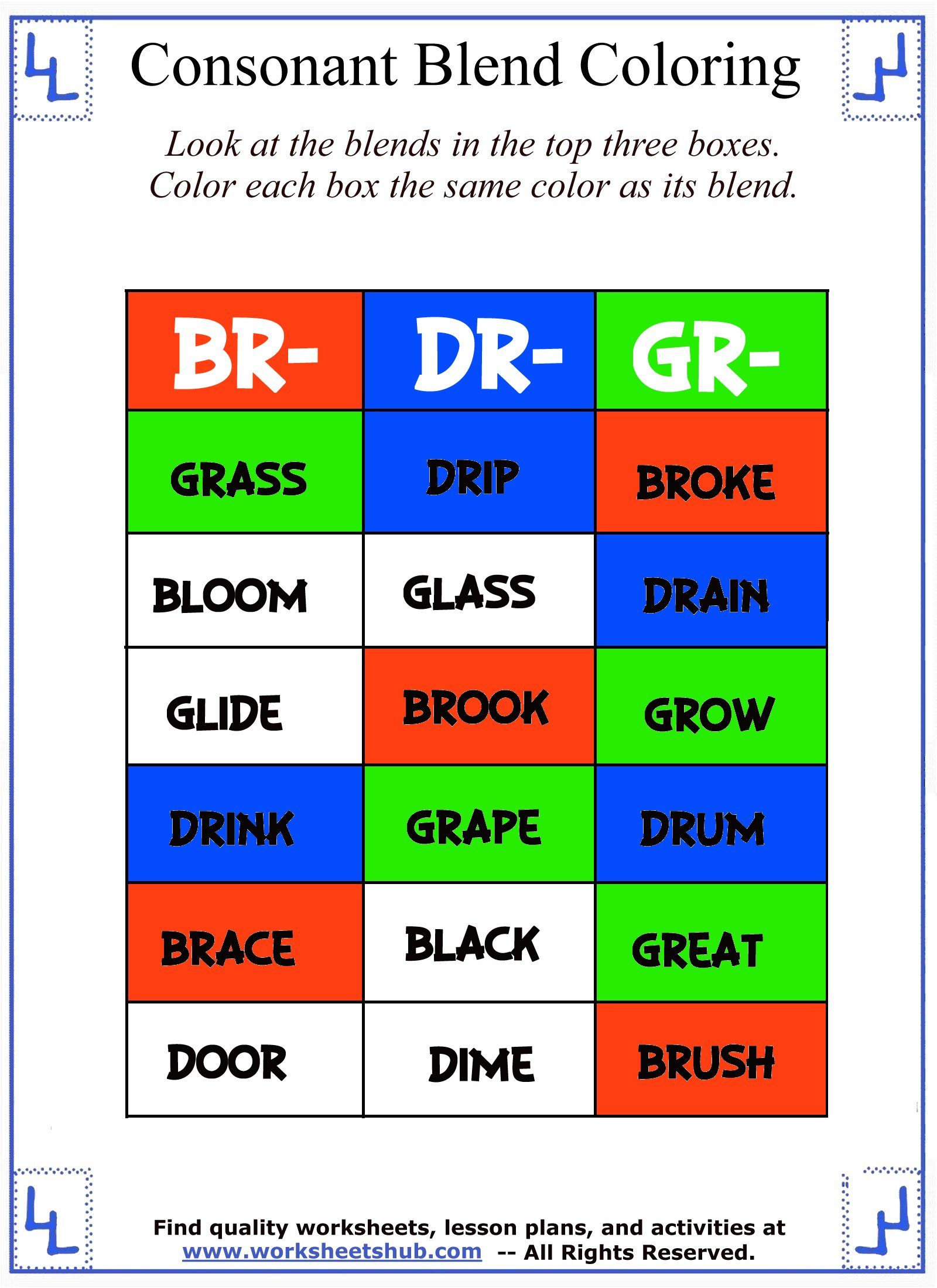 Consonant Blend Worksheets Identify Color – Blend Worksheets