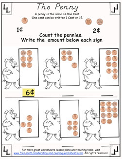 Printable Counting Pennies Worksheets