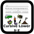 cursive handwriting worksheets s-z
