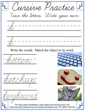 cursive lowercase k handwriting sheet