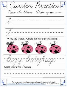 cursive lowercase l handwriting sheet