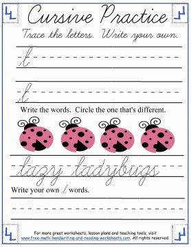 cursive handwriting sheets 6