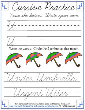 cursive handwriting worksheets 3
