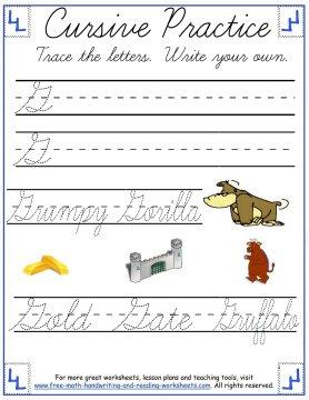 curisve letter G practice page