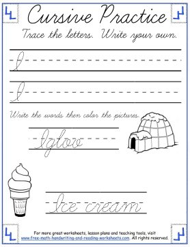 curisve letter I practice page