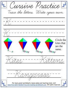 curisve letter K practice page