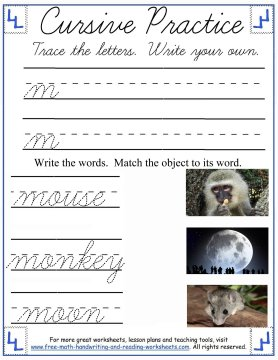 cursive worksheets 1