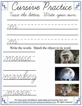 lowercase m cursive worksheet