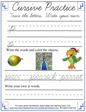 cursive worksheets 4