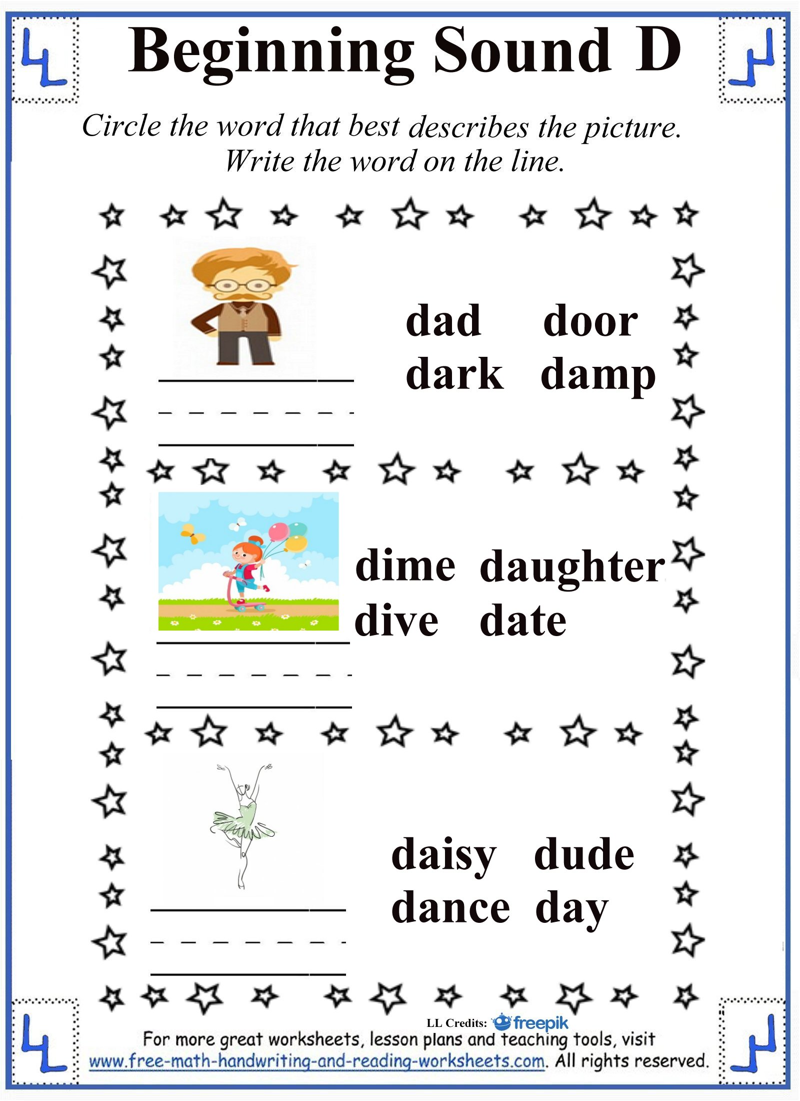 beginning sound d circle and write activity
