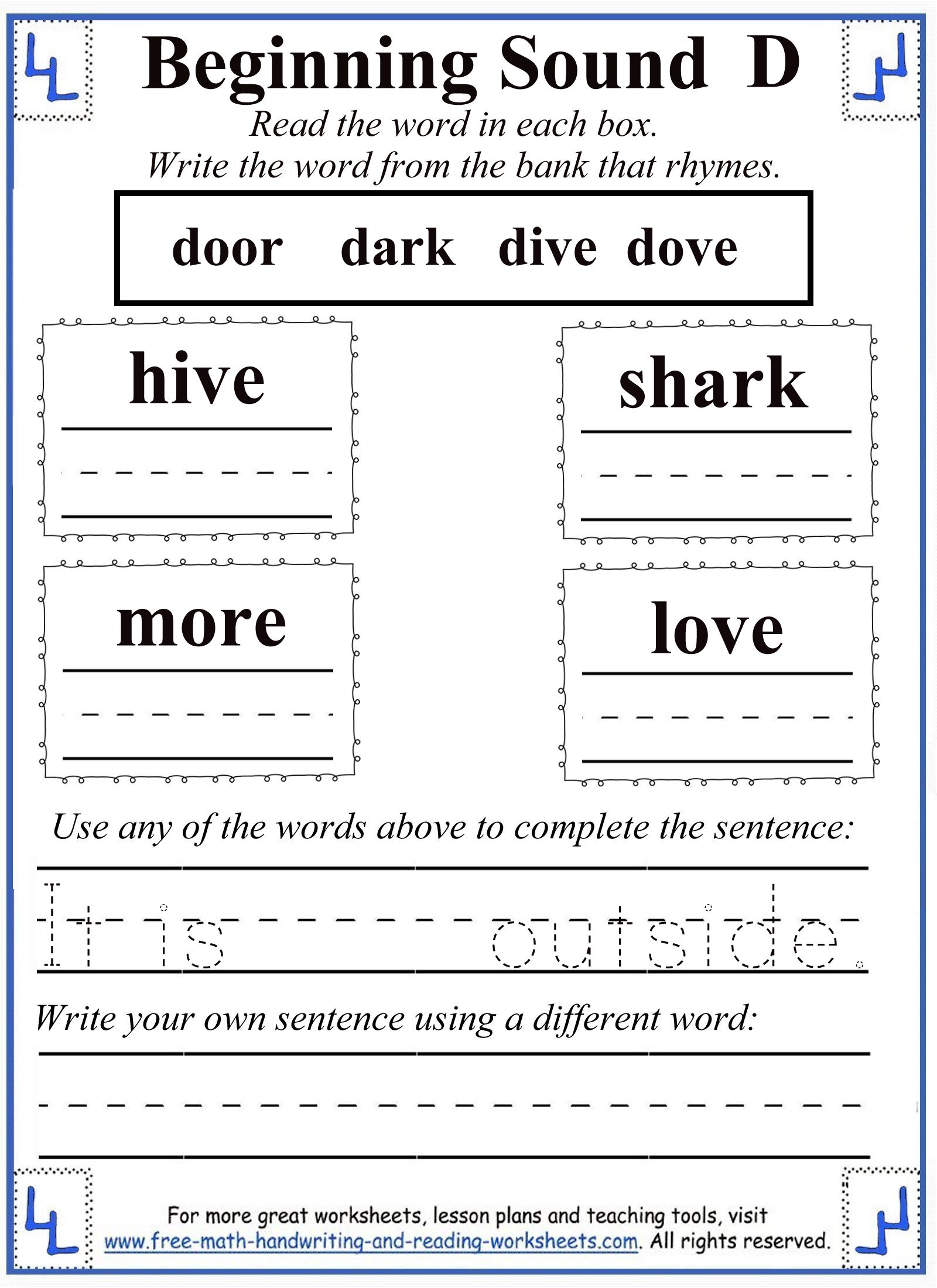 beginning sound d rhyming activity sheet