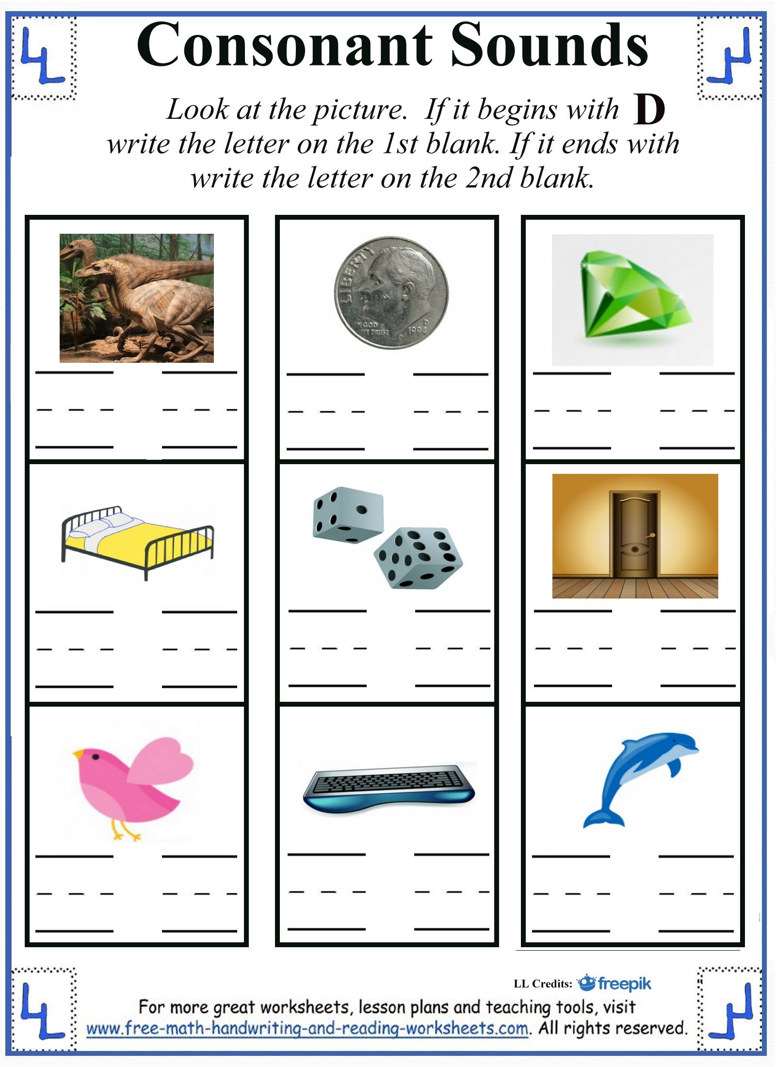 beginning and ending sound d letter worksheets