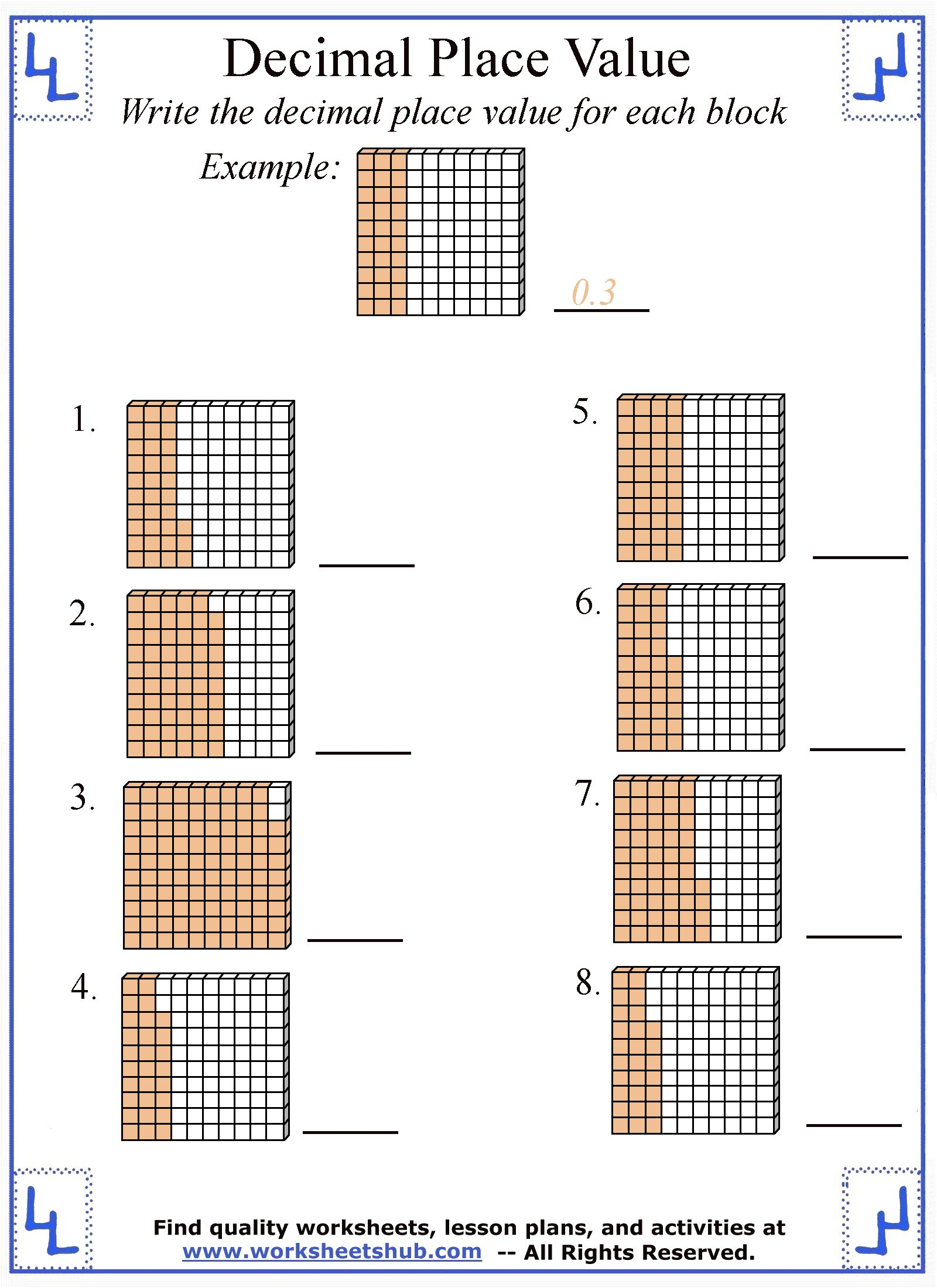 decimal place value worksheets. Black Bedroom Furniture Sets. Home Design Ideas